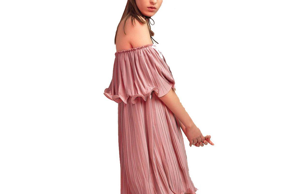 Pleated Off-Shoulder Dress