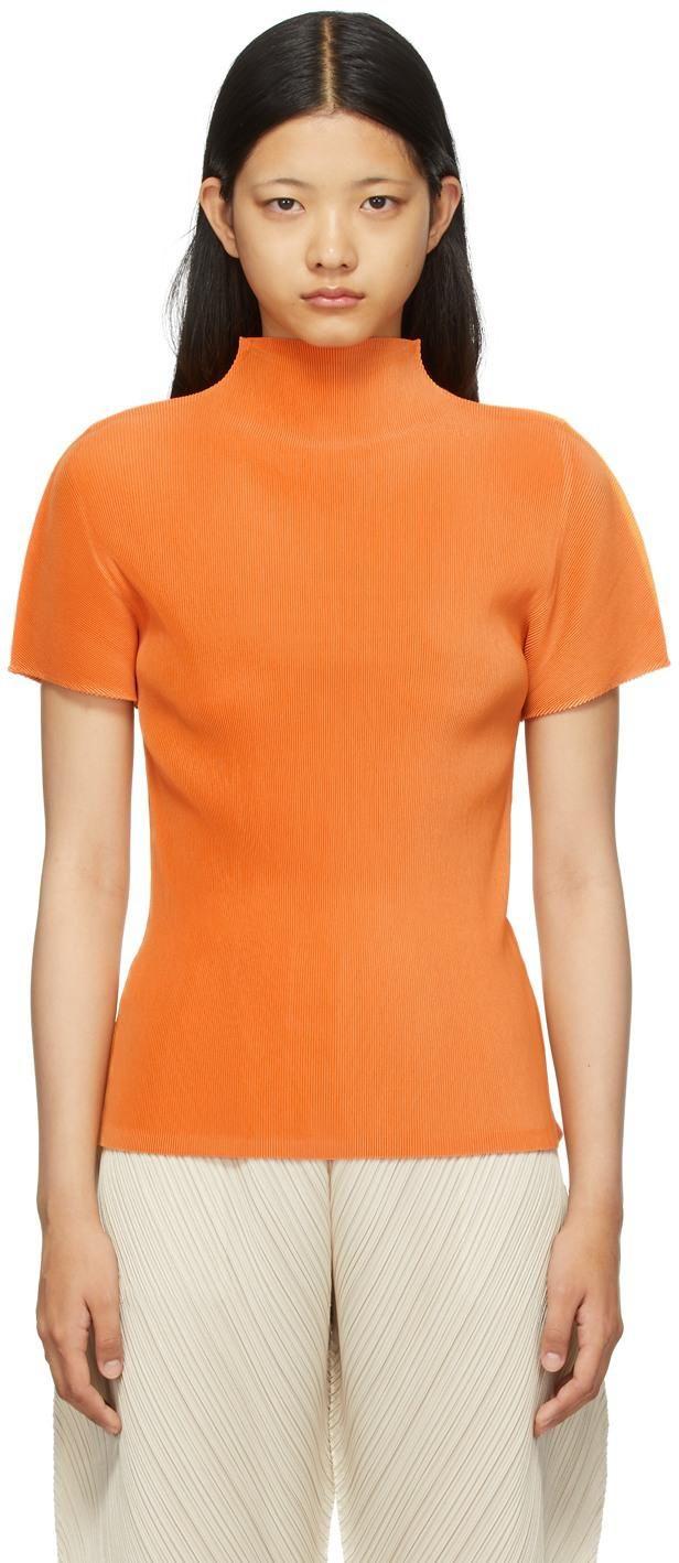 pleats please issey miyake orange mist monthly colors july turtleneck shirt