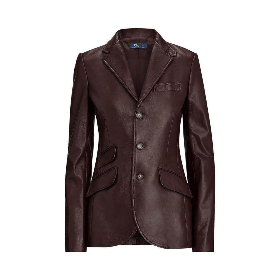 polo ralph lauren 3 button lambskin leather blazer
