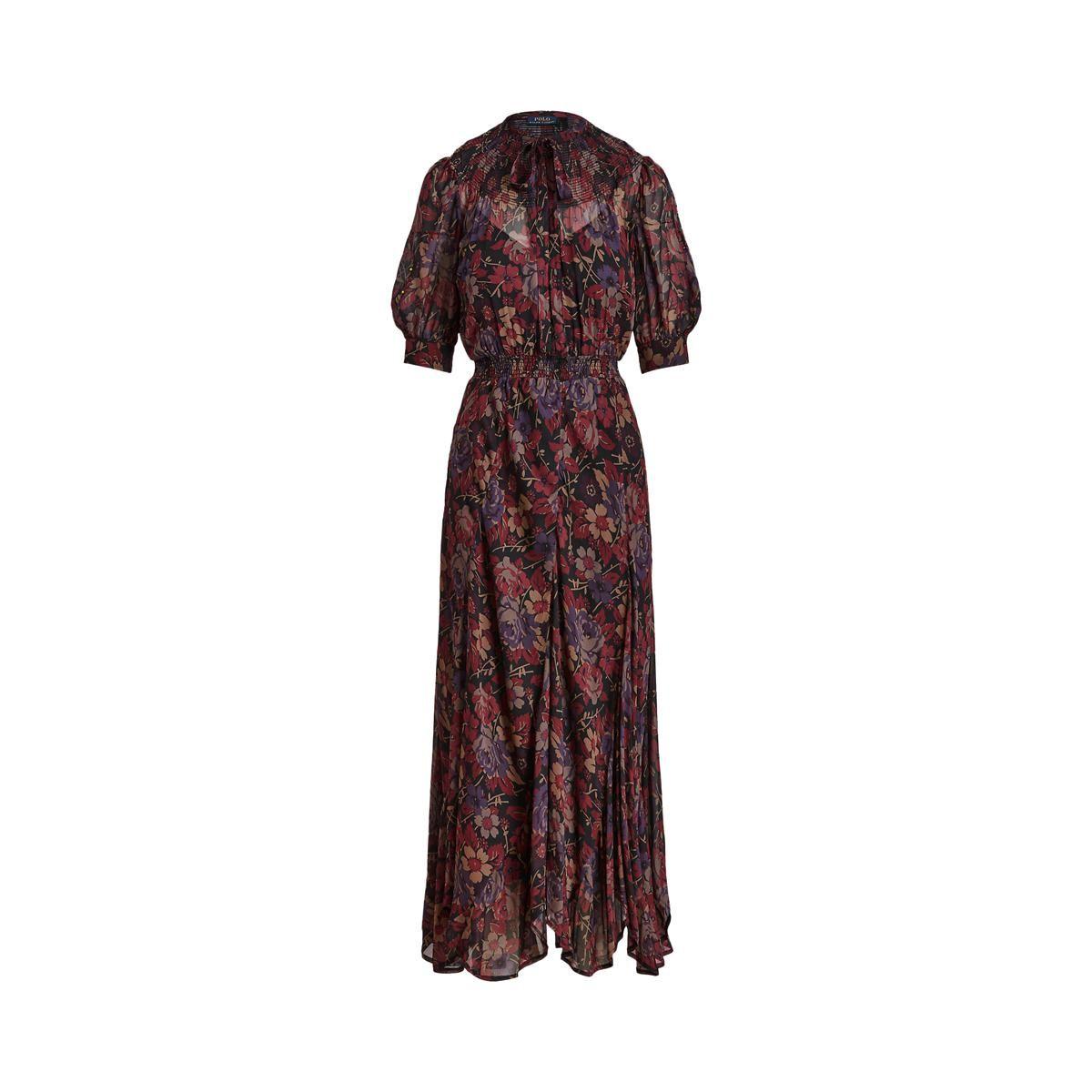polo ralph lauren floral print puff sleeve long dress