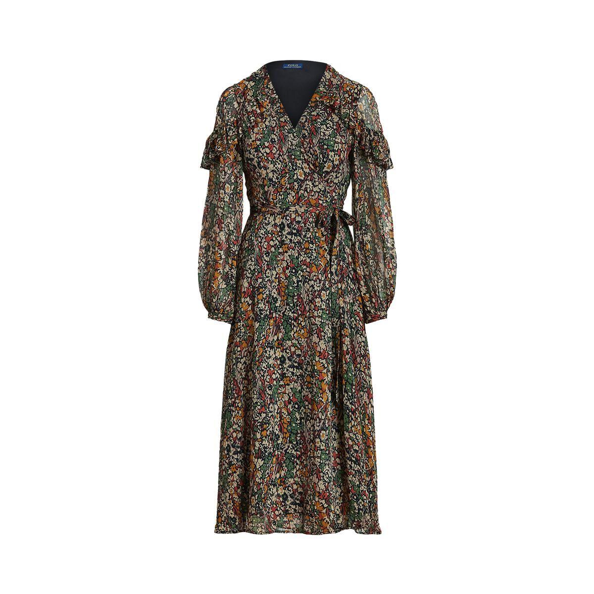 polo ralph lauren junia crinkled floral wrap dress