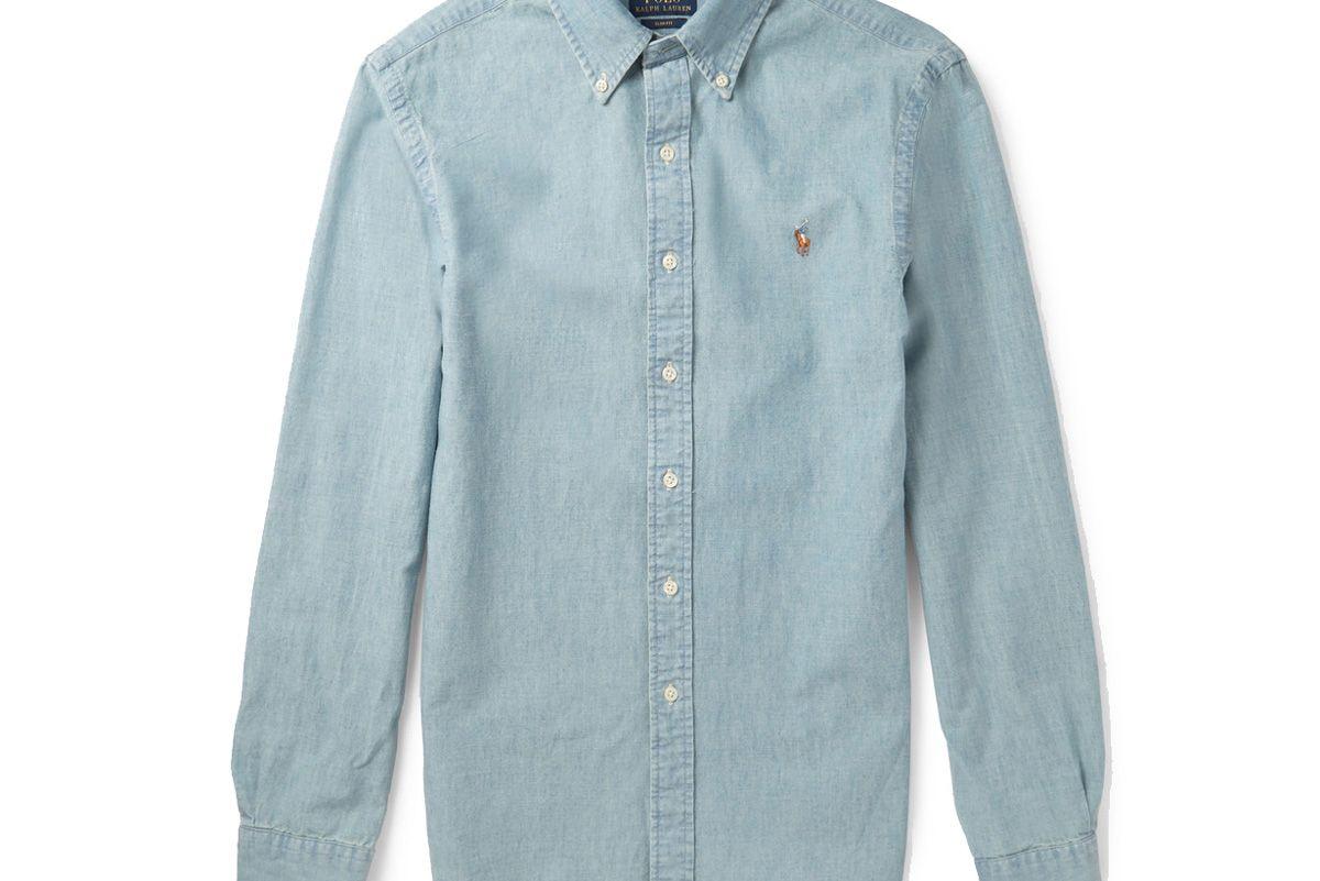 Slim-Fit Washed Cotton-Chambray Shirt