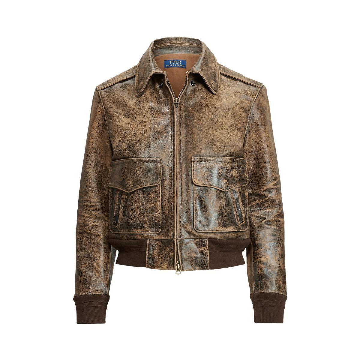 polo ralph lauren vintage leather a2 bomber jacket