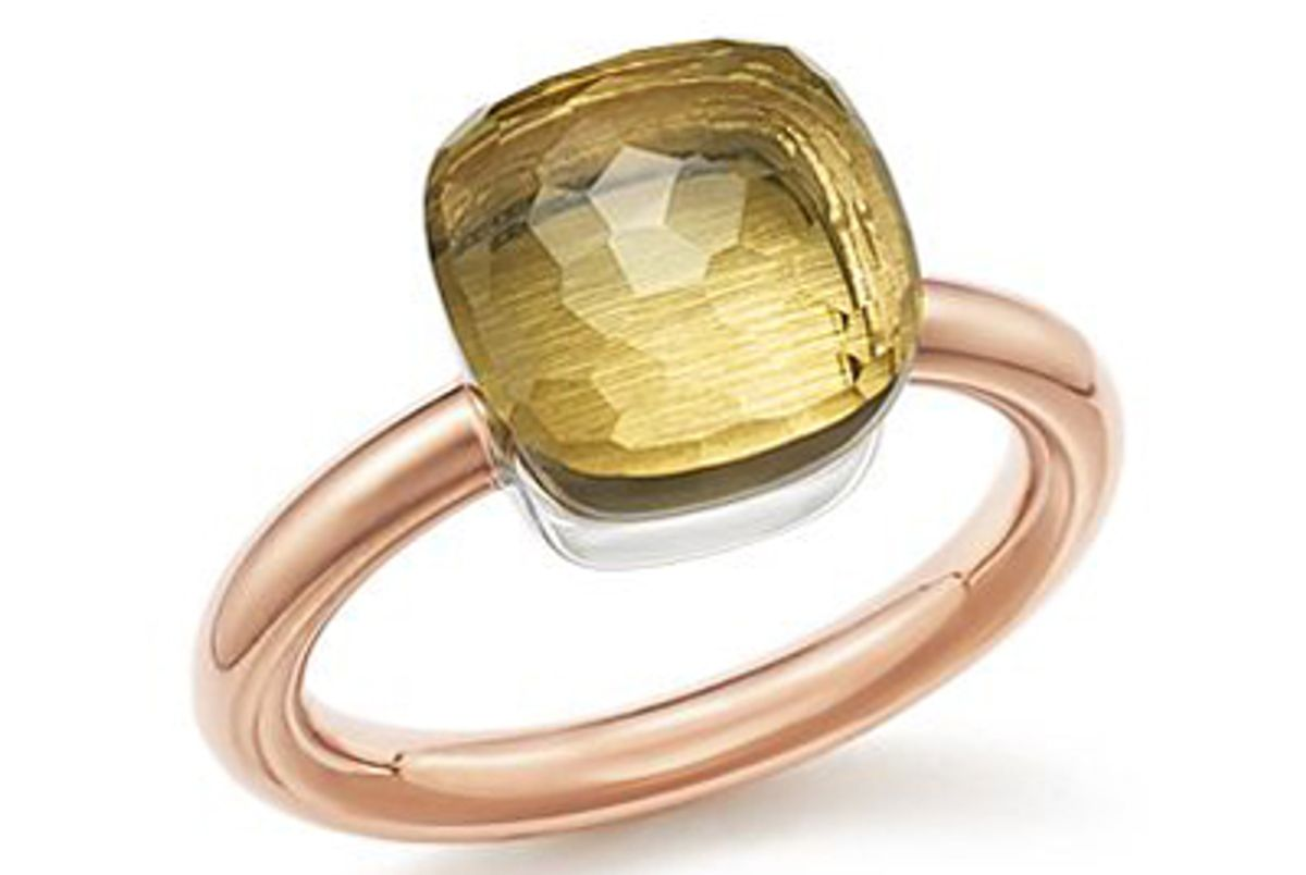 pomellato nudo classic ring with lemon quartz in 18k rose white gold