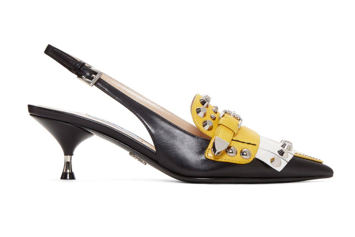 prada black colorblock studded heels