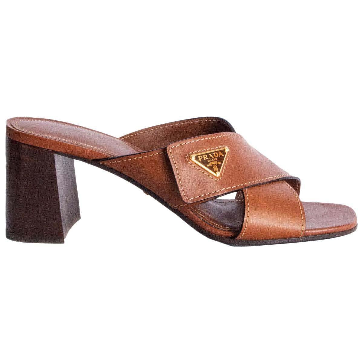 prada cognac brown leather criss cross block heel sandals