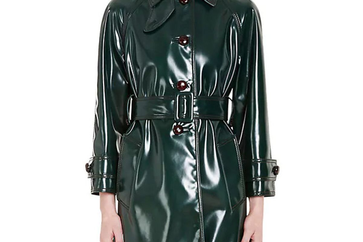 Faux Patent Leather Trench Coat