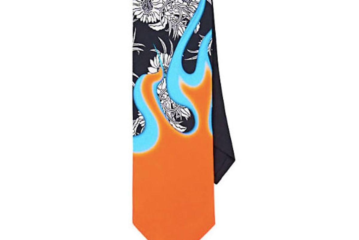 prada floral and flame silk faille necktie