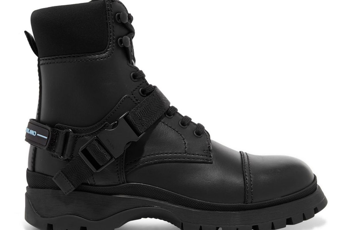 prada logo embossed rubber and neoprene trimmed leather ankle boots