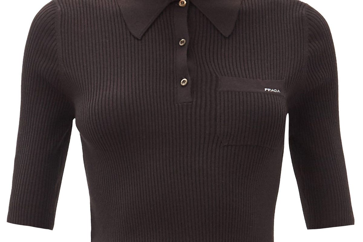 prada logo jacquard ribbed wool blend polo top
