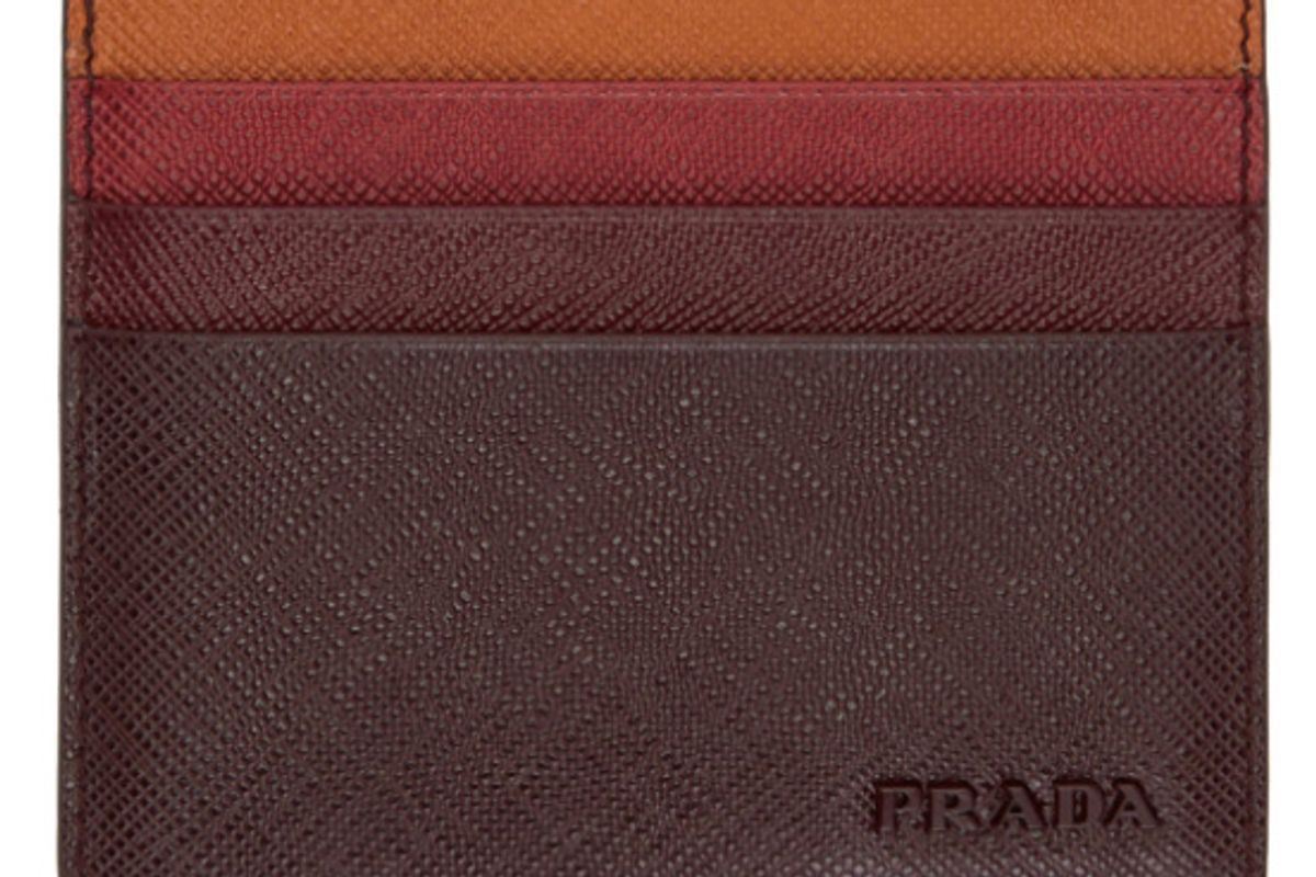 Brown Colorblocked Saffiano Card Holder