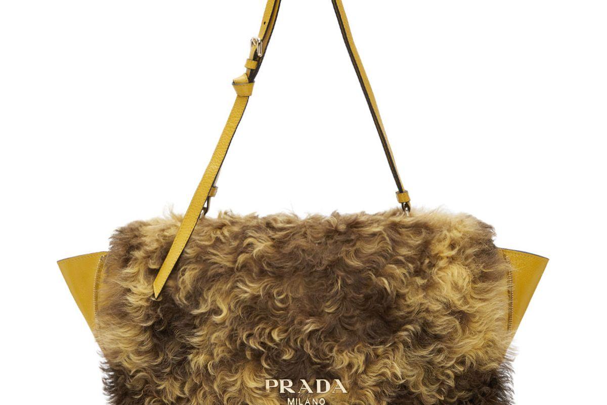 Yellow Shearling Messenger Bag