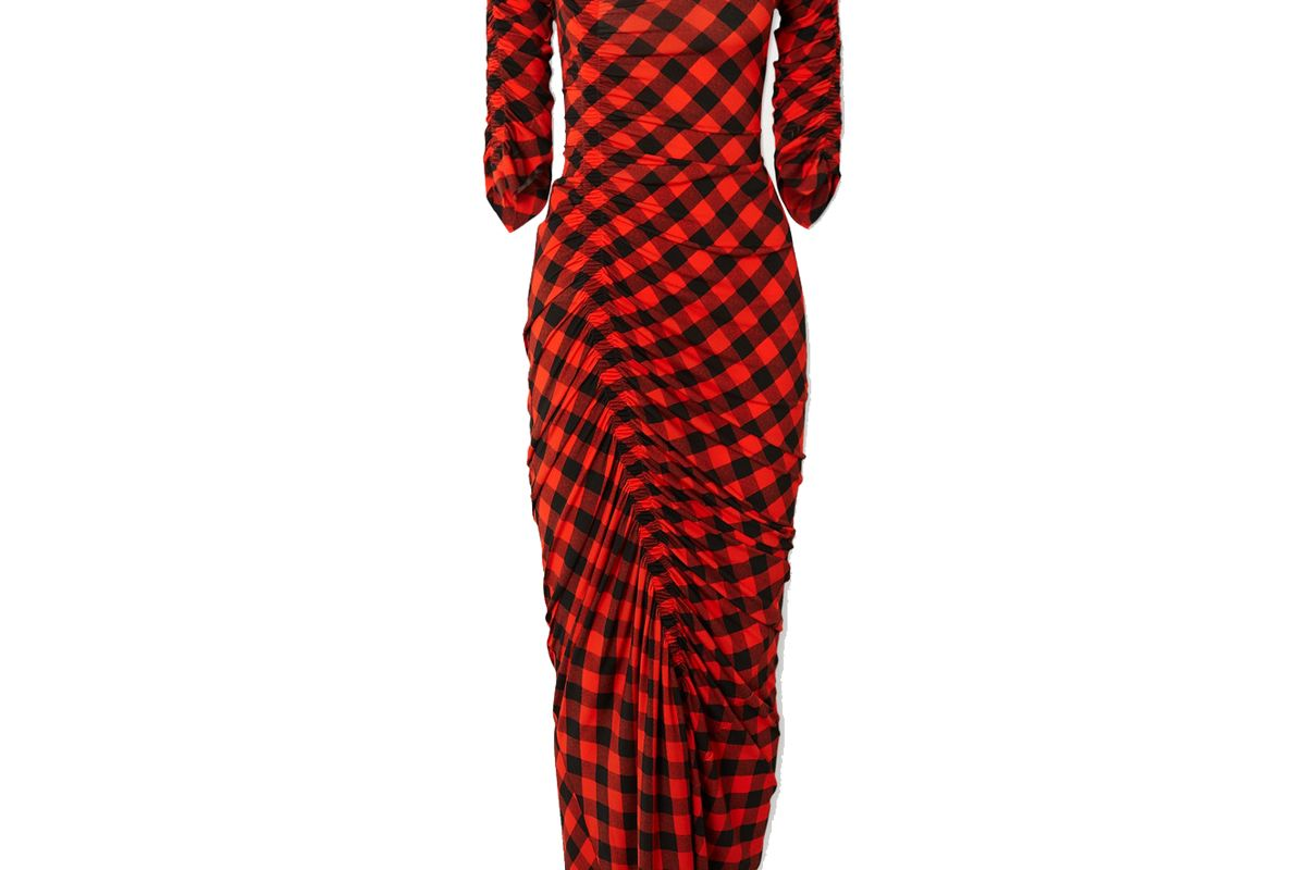 preen by thornton bregazzi asymmetric ruched gingham stretch crepe dress