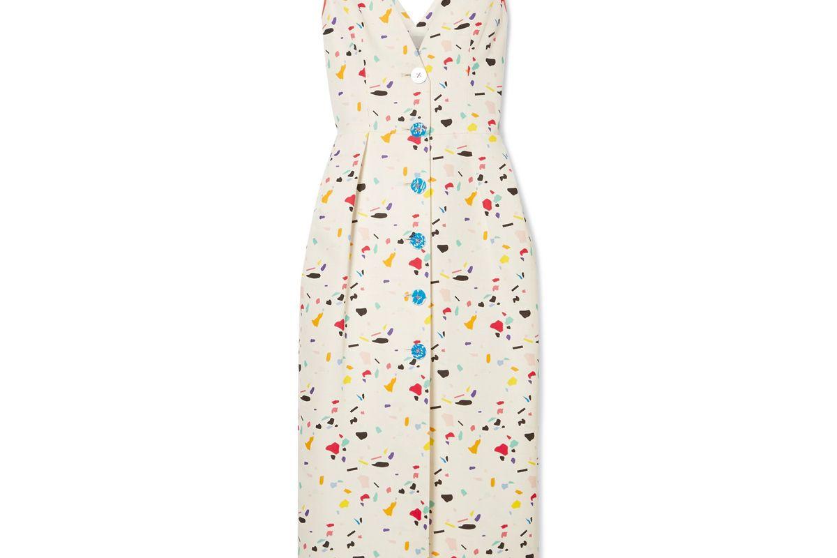 carolina herrera printed cotton blend faille midi dress