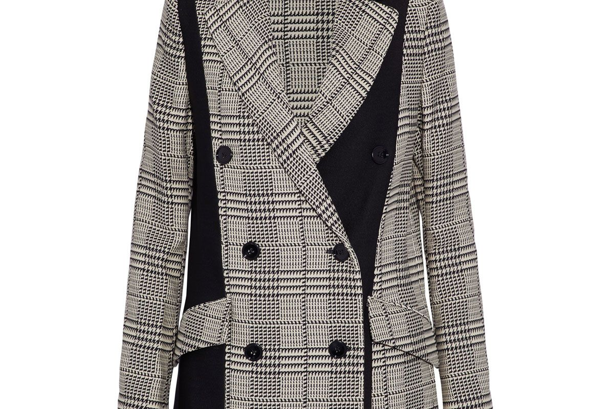 proenza schouler double breasted paneled houndstooth cady blazer