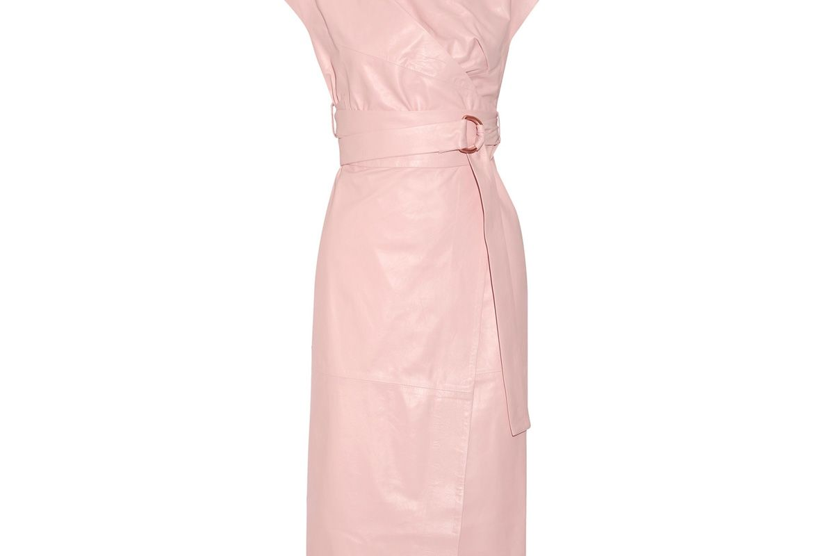 proenza schouler draped leather wrap midi dress