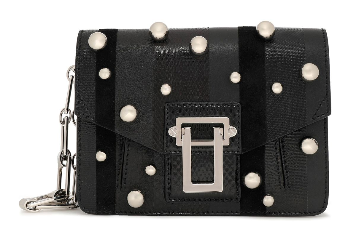 proenza schouler faux pearl embellished paneled karung ayers and leather clutch