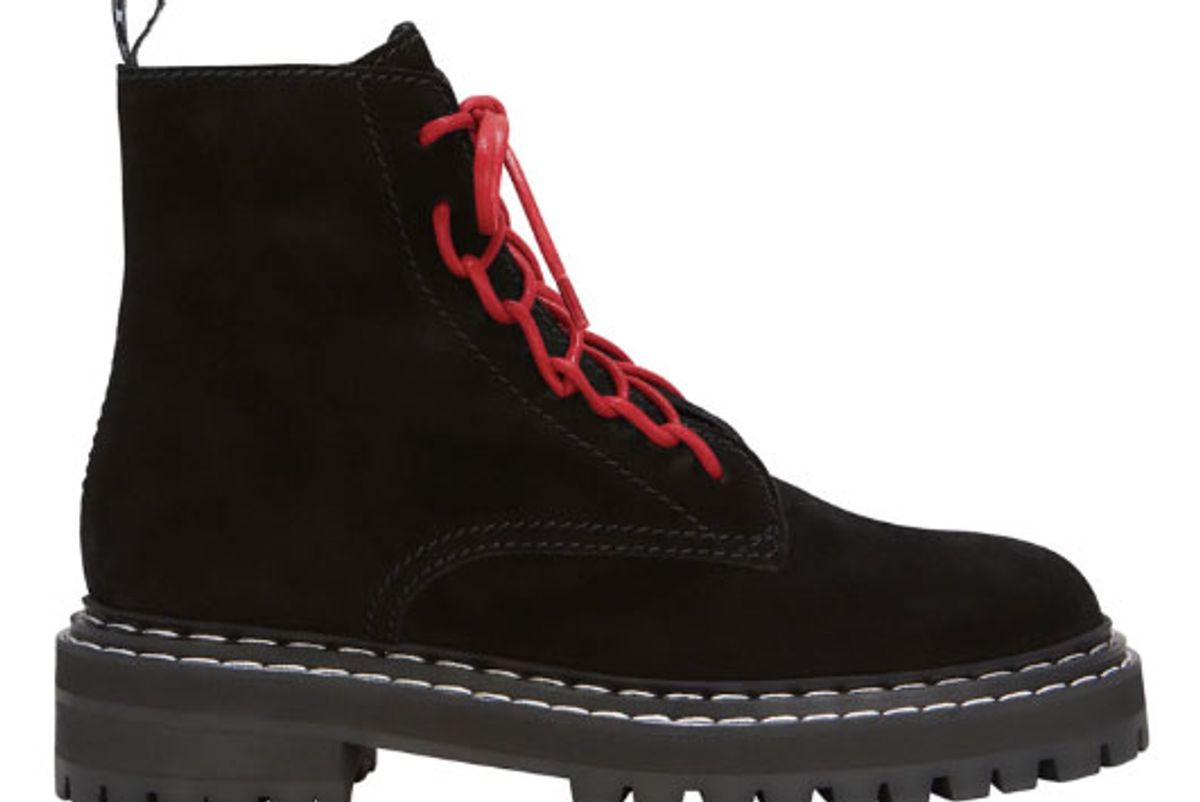 proenza schouler red lace up combat boots