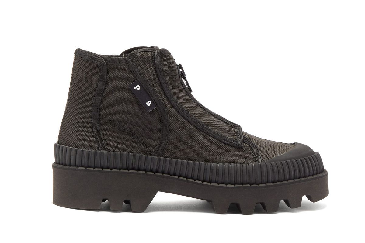 proenza schouler zip up rubber and canvas boots
