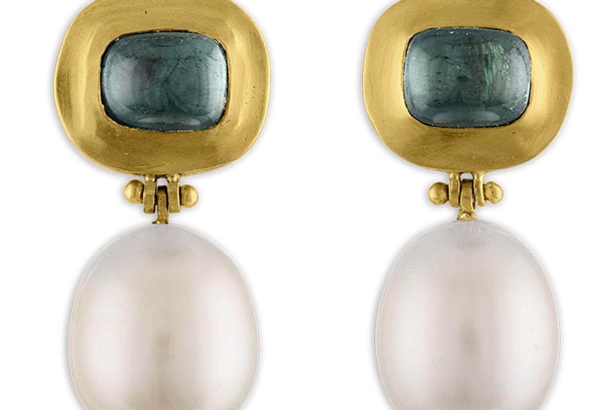 prounis jewelry green tourmaline and pearl hinge earrings