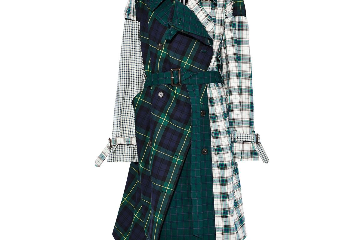 pushbutton asymmetric paneled checked cotton twill trench coat