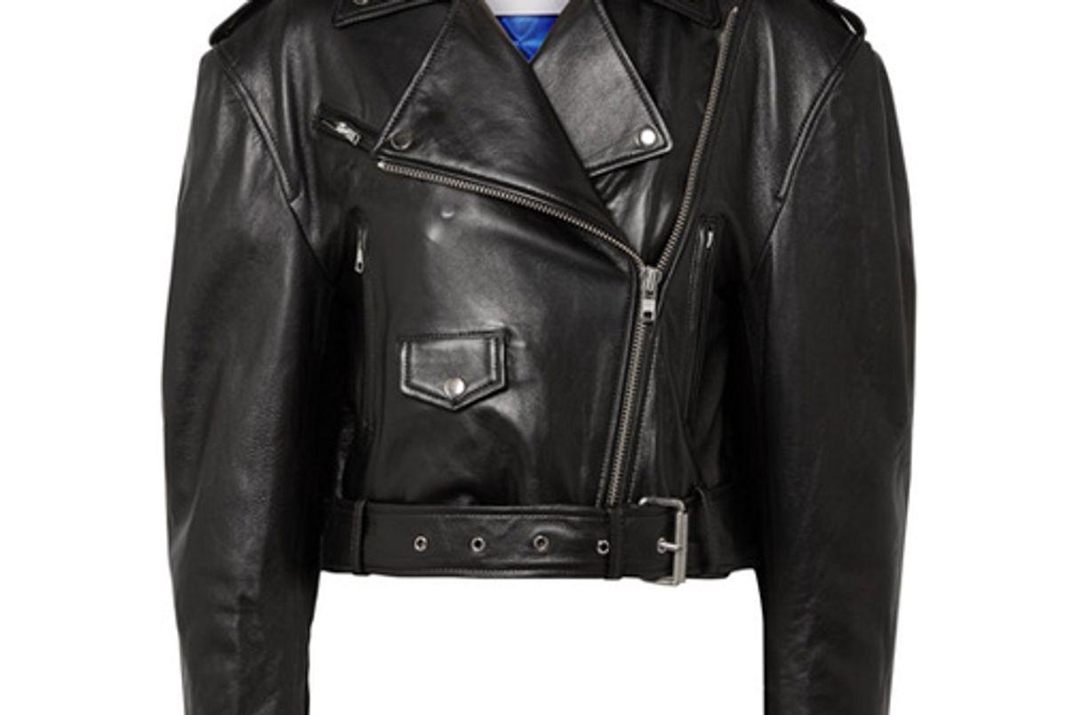 push button leather biker jacket