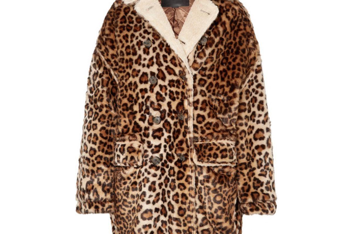 r 13 oversized shearling lined leopard print faux fur coat