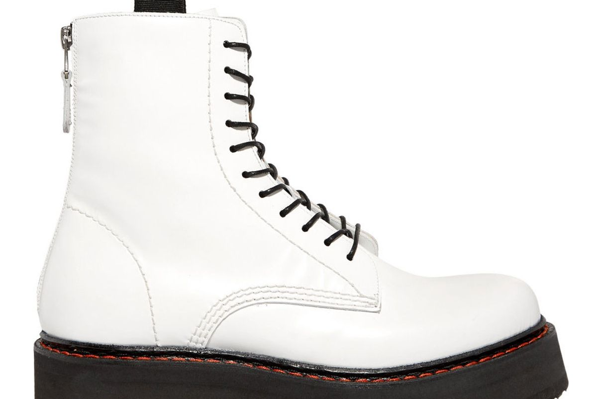 r13 glossed leather ankle boots