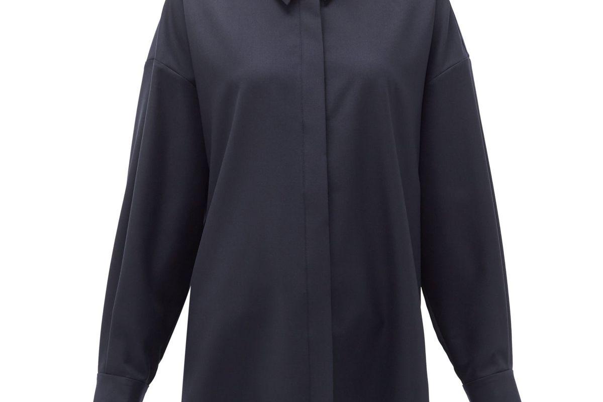 raey oversized step hem wool shirt