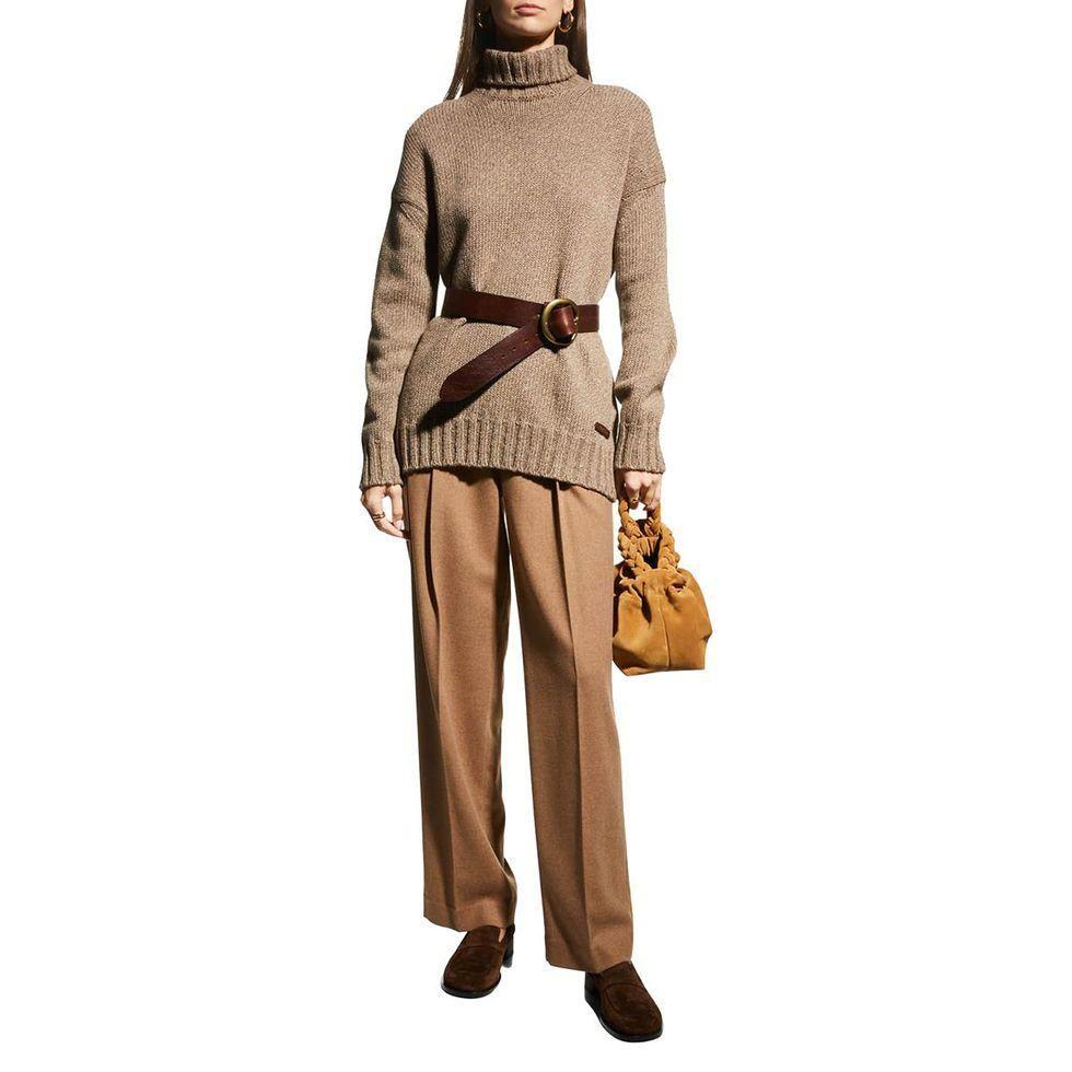 ralph lauren collection melange tunic cashmere sweater