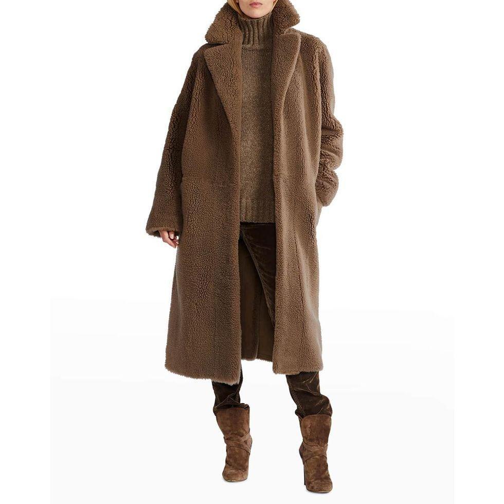 ralph lauren collection missandra reversible shearling coat
