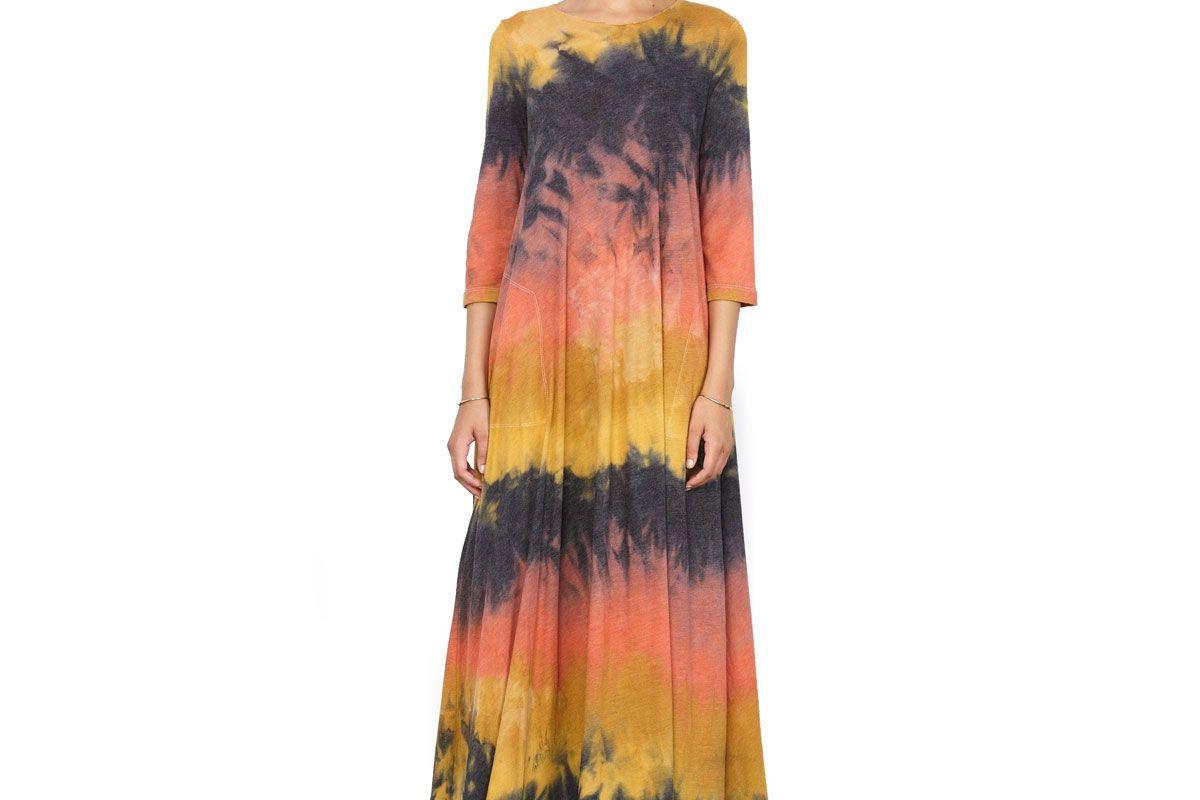Lava Tie Dye Jersey 3/4 Sleeve Drama Maxi Dress