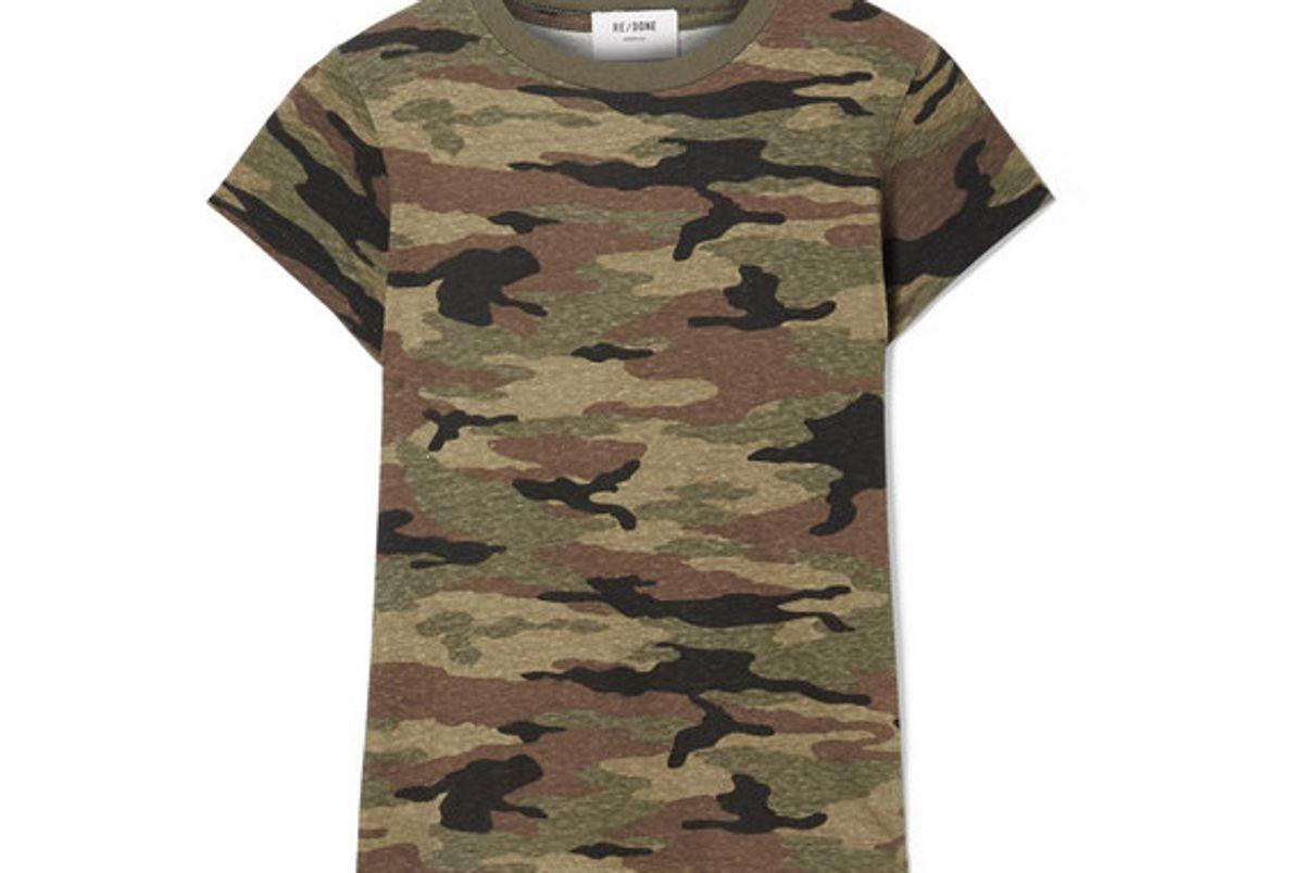 re done camouflage print slub cotton jersey t shirt