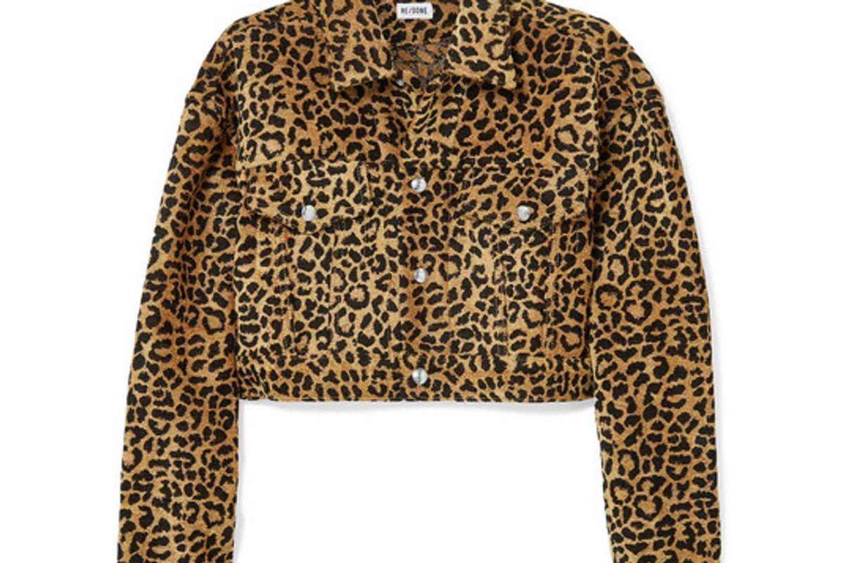 re done cropped leopard print velvet jacket