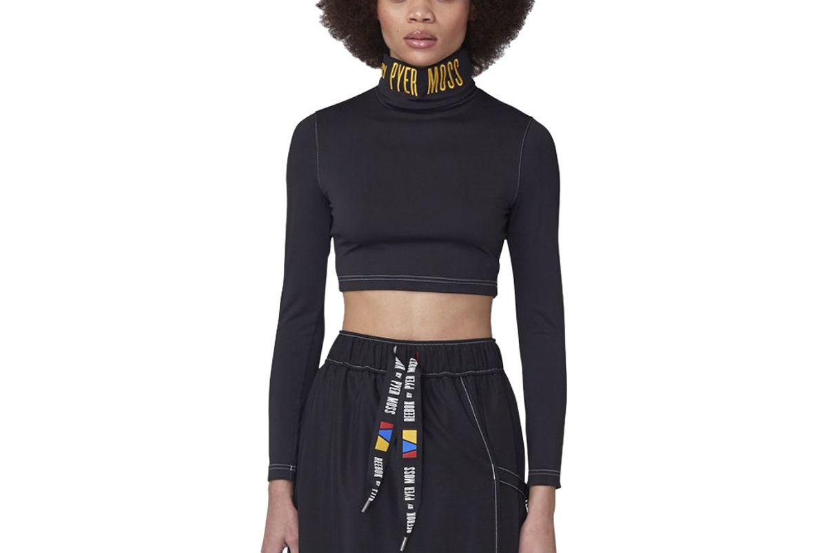 reebok by pyer moss embroidered logo cropped turtleneck