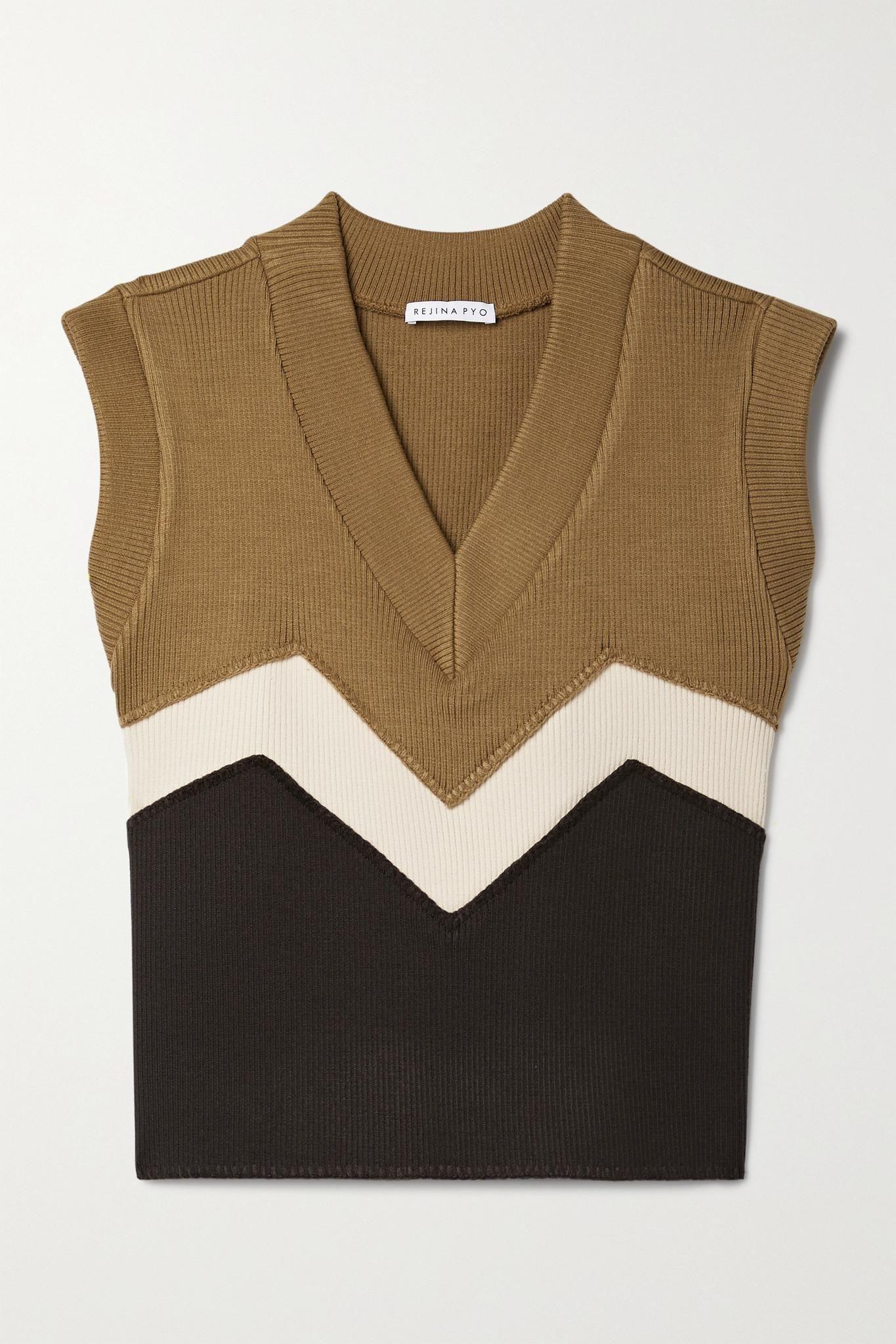 rejina pyo kenna color block ribbed knit vest