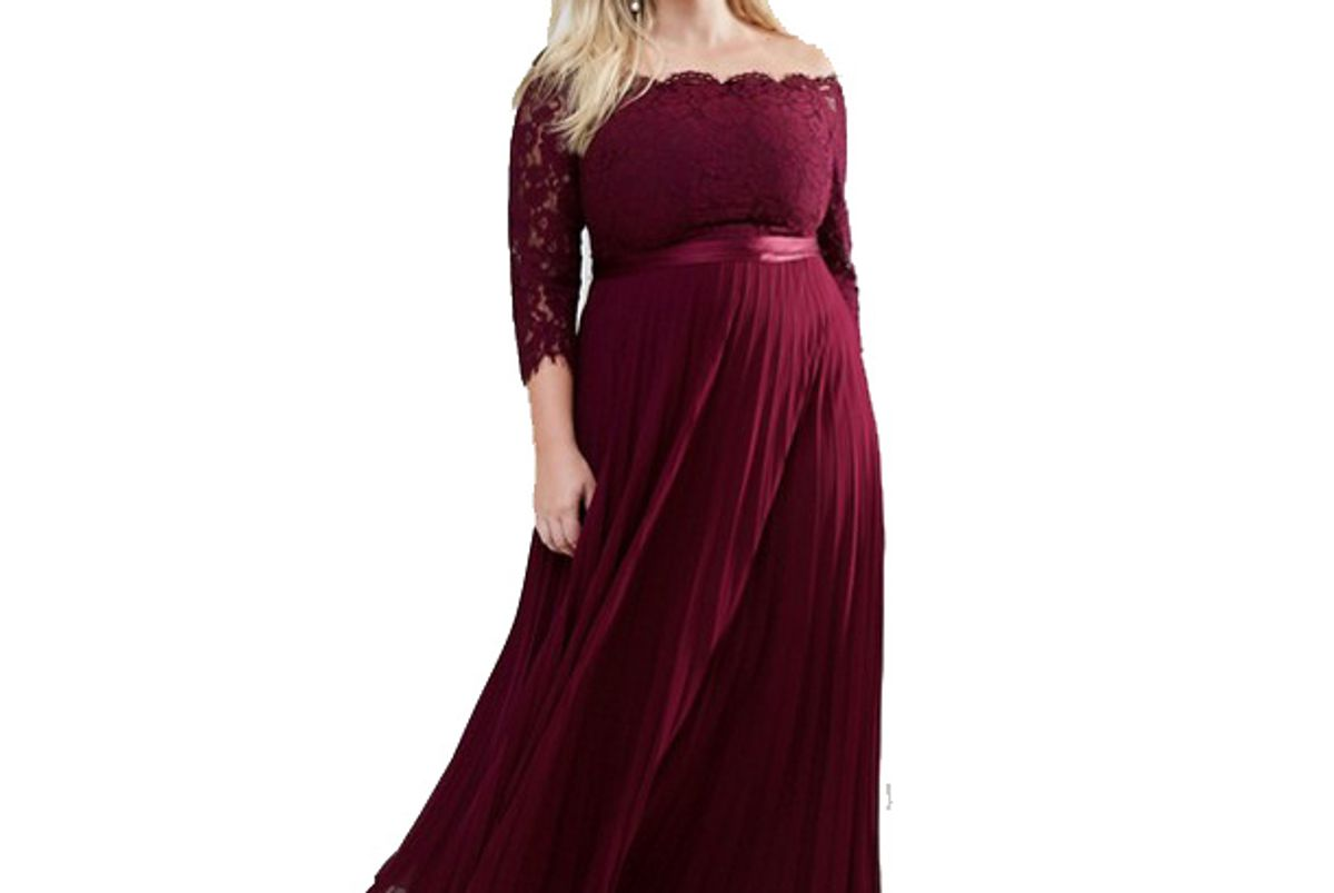 Imi Lace Bodice Maxi Dress With Pleated Skirt