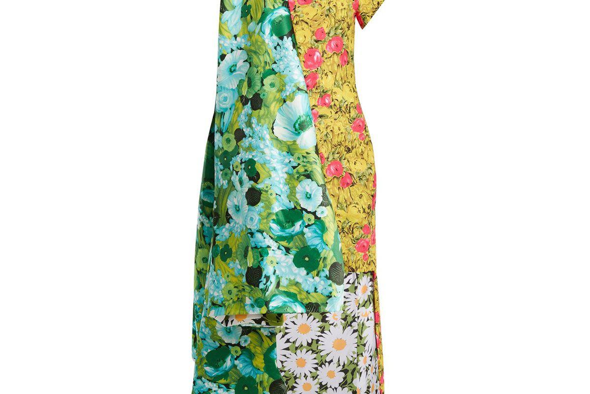 richard quinn contrast panel dip hem floral print satin dress