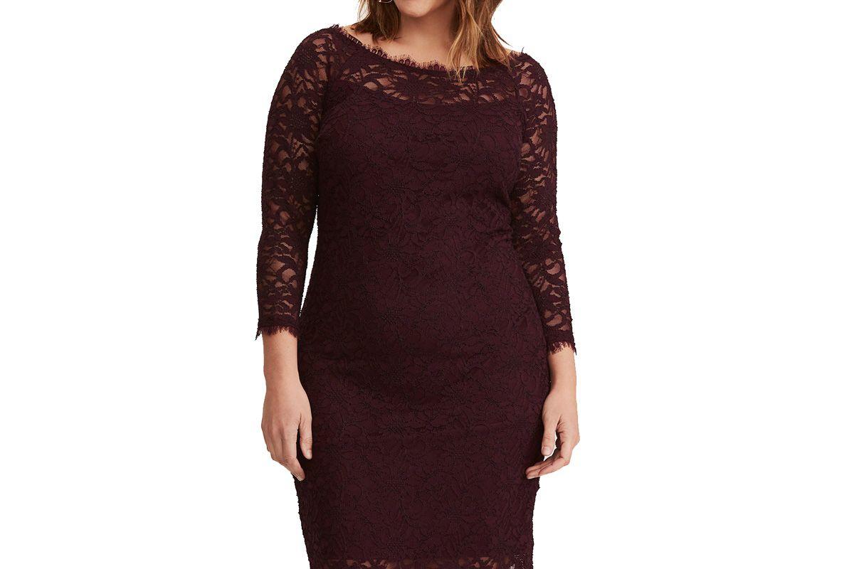 Purple Lace Off Shoulder Dress