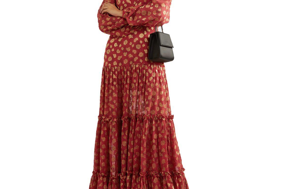 rixo tiered paisley print metallic fil coupe chiffon maxi dress