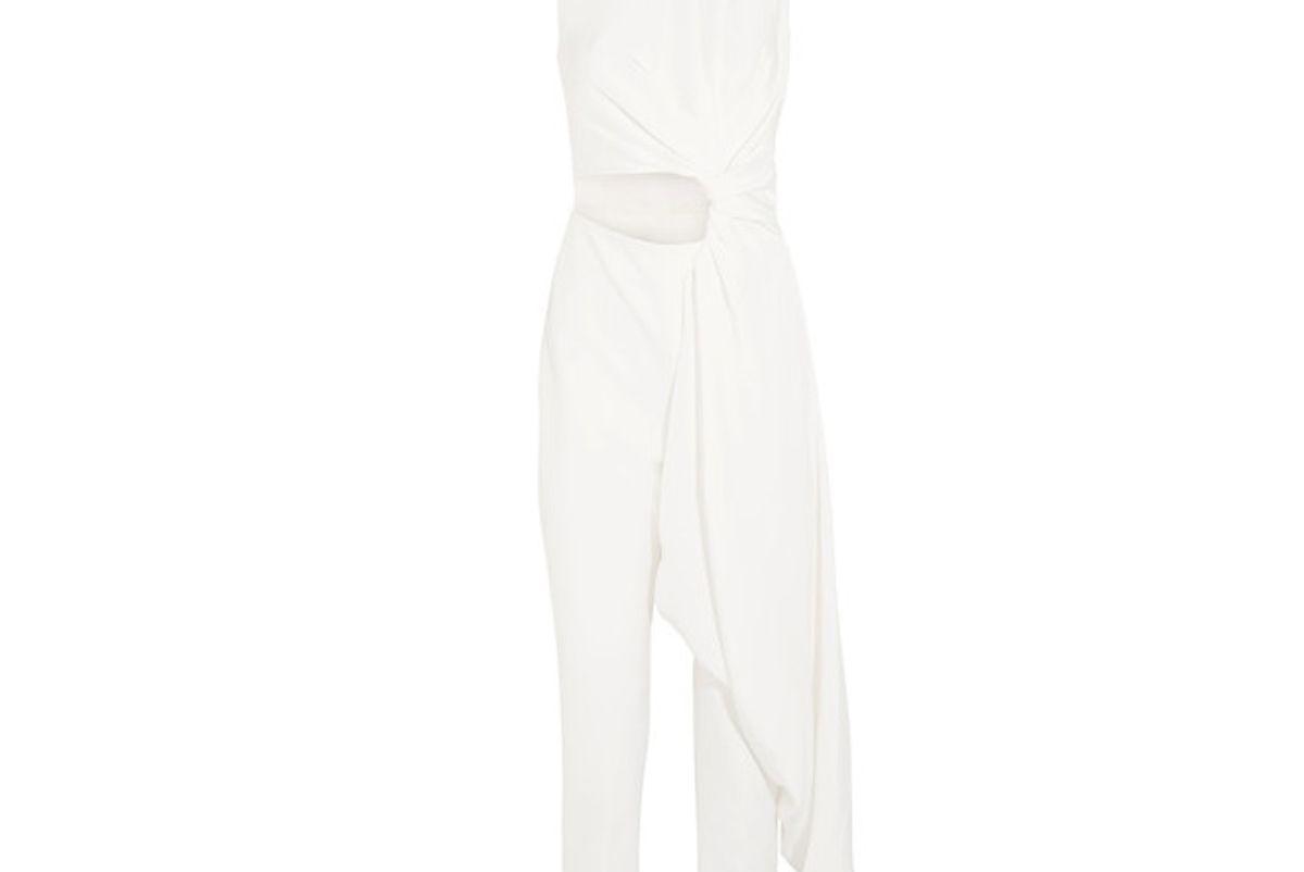 Thurloe Draped Cutout Jersey and Crepe Jumpsuit