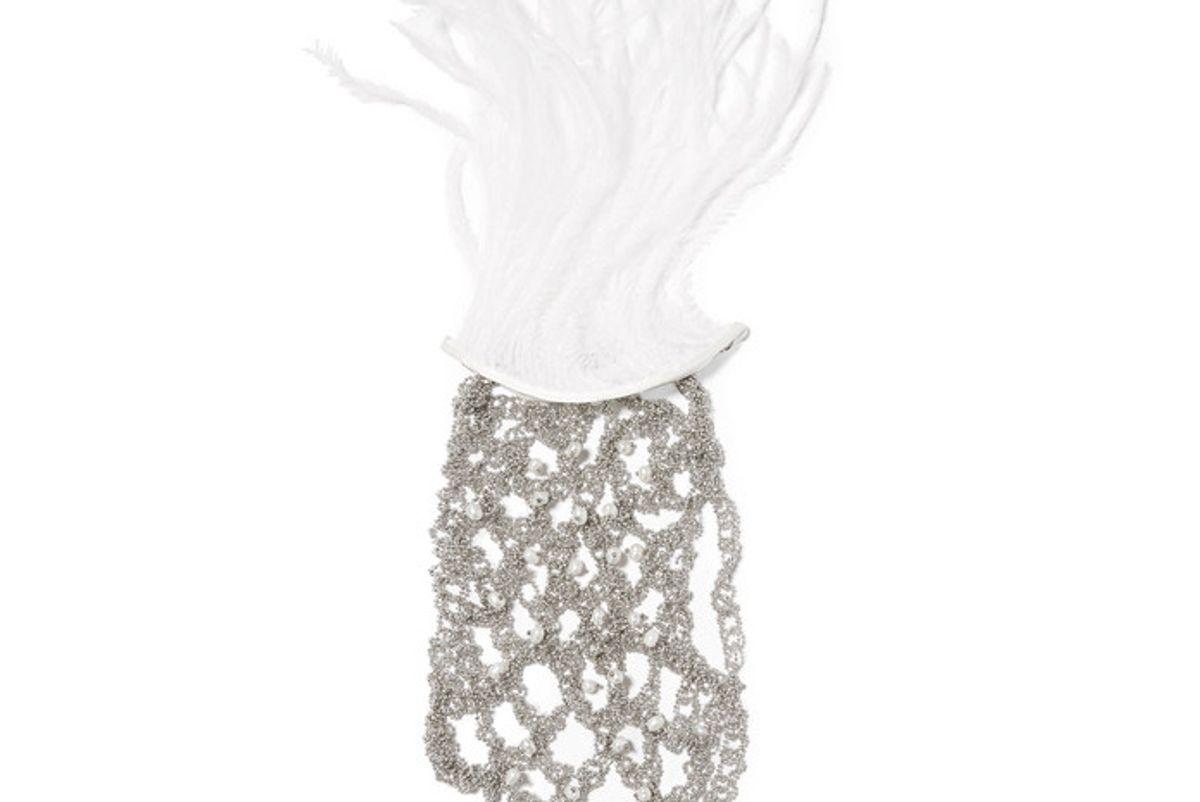 Giovanna Palladium-tone Pearl and Feather Glove