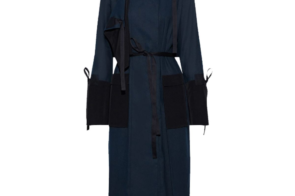 rosetta getty crepe de chine paneled linen blend canvas trench coat