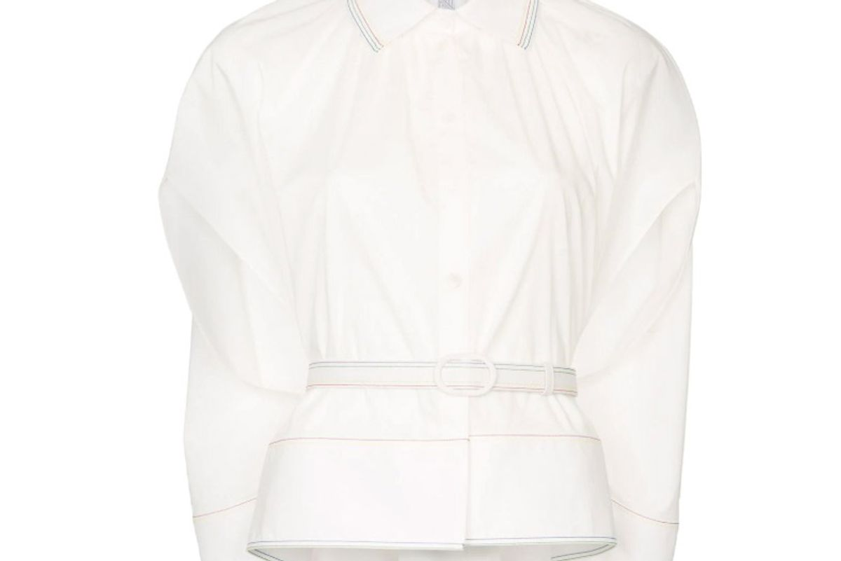 rosie assoulin caped button down cotton blend shirt