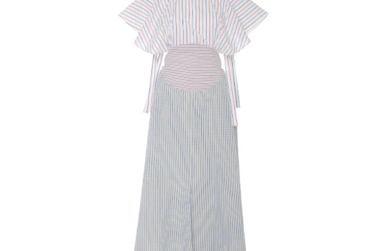 rosie assoulin striped cotton midi dress