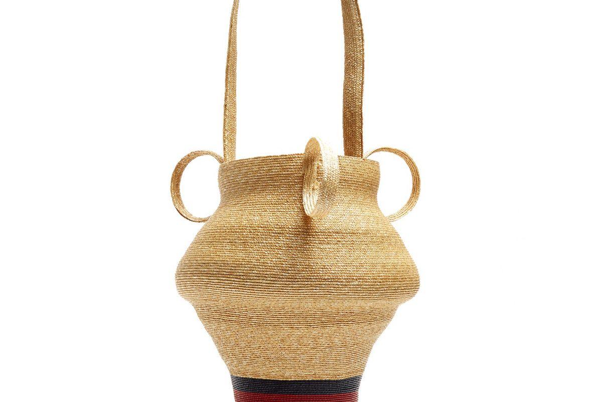 Striped Woven-Straw Jug Bag
