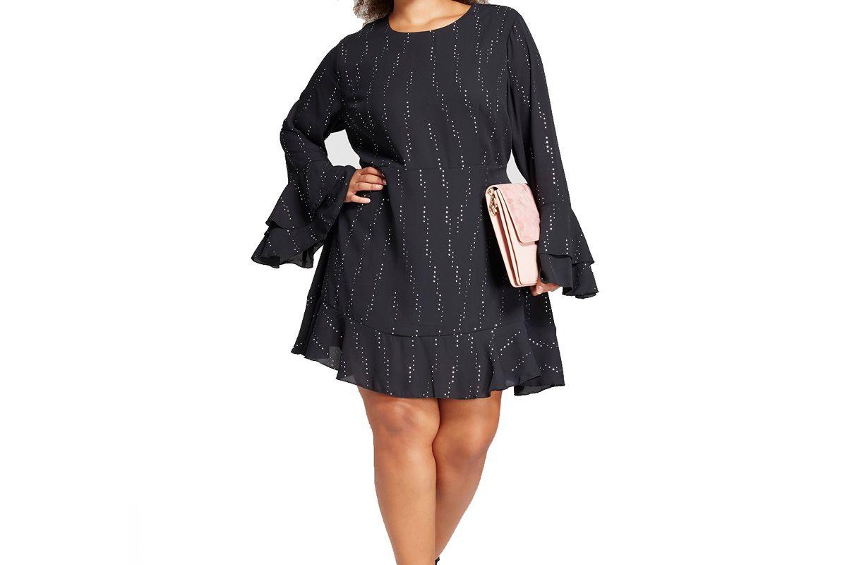 Women's Plus Size Tiered Ruffle Cuff Mini Dress