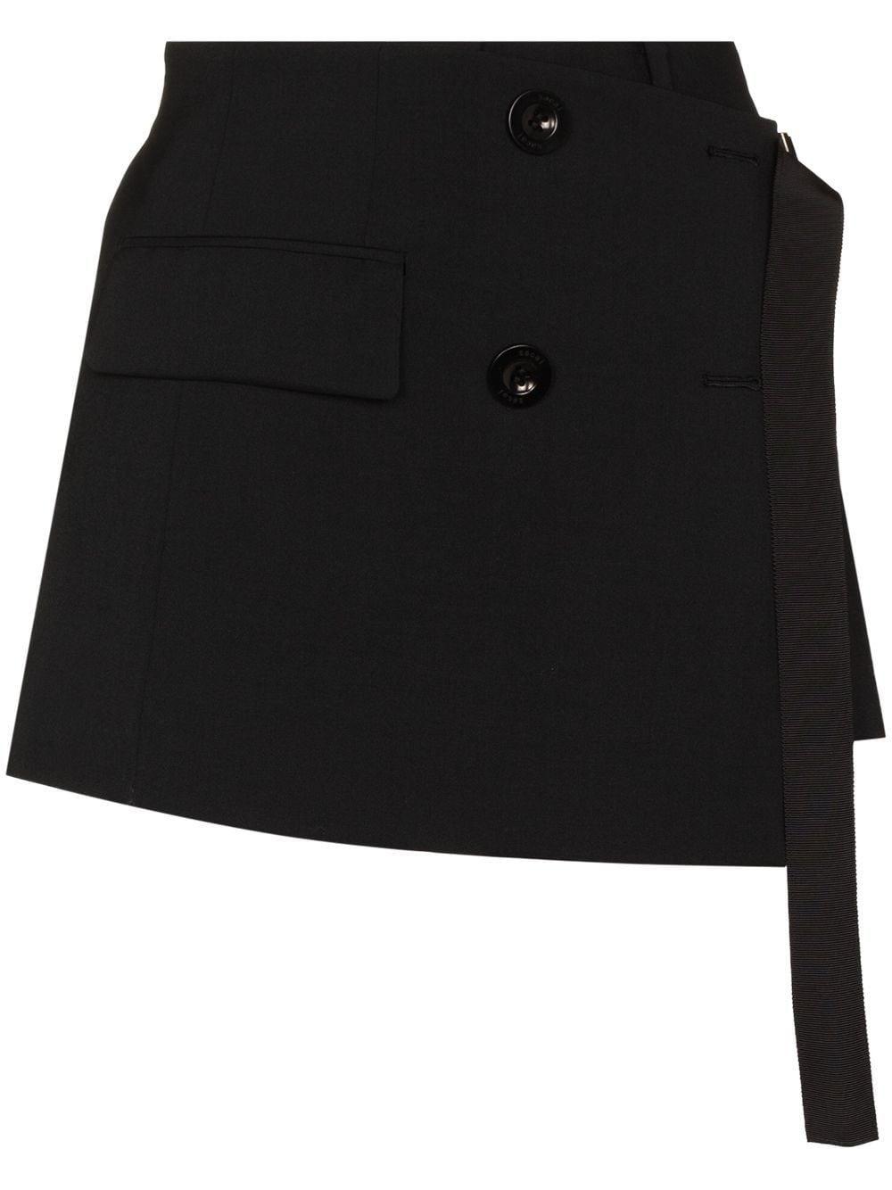 sacai wrap front tailored skort