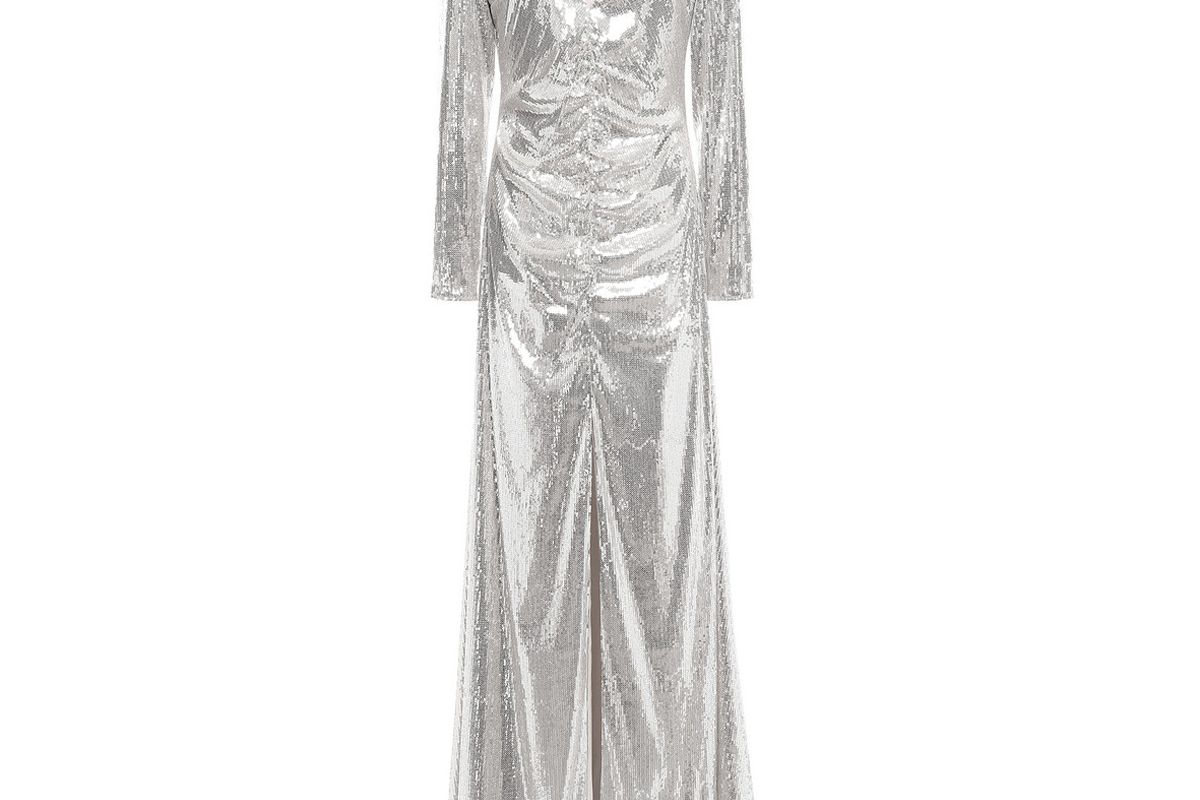 sachin and babi ruched sequined tulle gown
