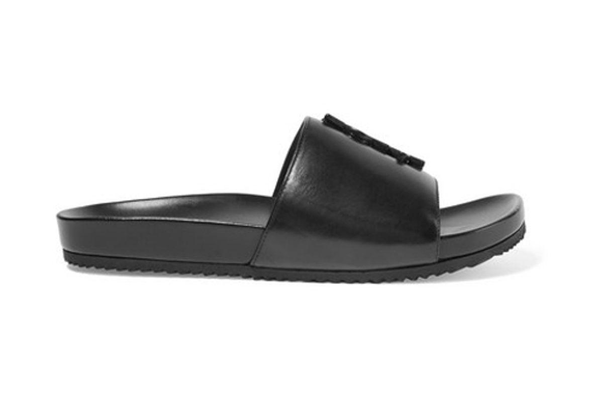 saint laurent joan embellished leather slides